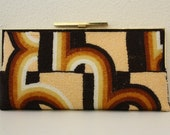 Vintage Mod Design Beaded Clutch in Browns and Earth Tones