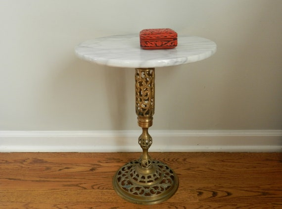 Vintage End Table White Marble Round Top Brass By Modrendition