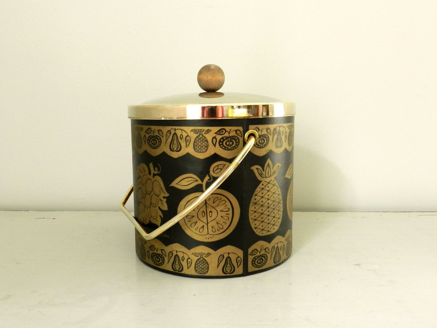 Vintage Culver Ice Bucket Barware Black Gold Vinyl By