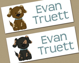 Personalized Waterproof Label Stickers - Boy - Puppies - Perfect for Bottles, Sippy Cups, Daycare, School - Dishwasher Safe - 008
