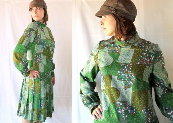 60s Dress / Mod / St Patricks Day / Drop Waist / Green Coral Aqua / Abstract / Pleated Skirt