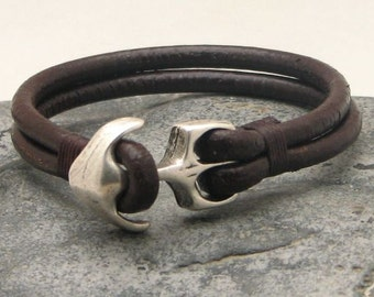 EXPRESS SHIPPING Anchor bracelet.Men's bracelet leather Brown leather muti strap leather bracelet with silver plated anchor clasp