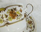 Clovelly- Royal Stafford Vintage Teacup and Saucer- Fine Bone China Made in England- Autumn Colors- Brown, Rust, Gold Floral