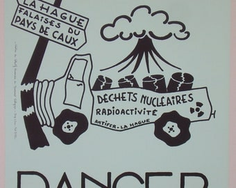 Original french anti-nuclear political poster for the ecology movement in the 1970's