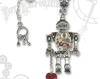 I Heart Robot Steampunk Necklace by Za Dee Da - The Toy Emporium Collection