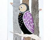 Love Owl - Watercolor Illustration Painting - Archival Prints - Litte Love Owl Coki