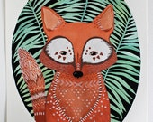 Watercolor Painting - Fox Illustration Art - River Luna - Archival Print Fox in Ferns
