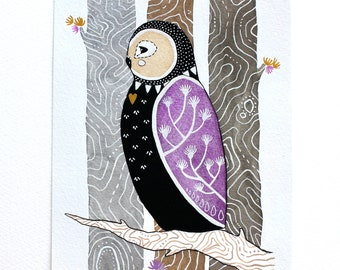 Love Owl - Watercolor Illustration Painting - Archival Prints - Litte Love Owl Coki