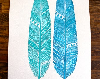 Feather Painting - Patterned Feather Pair - Amazonite Feathers by Marisa Redondo