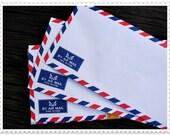 Set of 20 Vintage White Airmail  Envelopes 10.8 cm X 23.5 cm (70gram),ready to use.