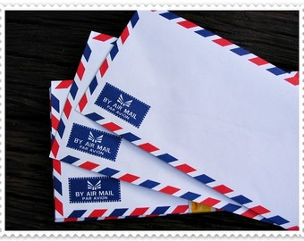Set of 20 Vintage White Airmail  Envelopes 10.8 cm X 23.5 cm (70gram),ready to use.