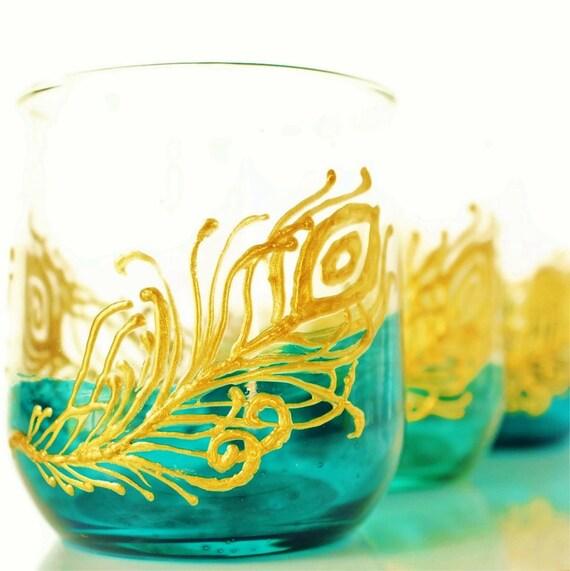 Peacock Feather Set of 4 Tumbler Drinking Glasses, Aqua and Teal Dipped Glass with Gold Accents