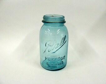 Aqua Blue Ball Perfect Mason Canning Jar, Display Jar, Flower Vase
