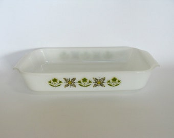 Anchor Hocking Ovenware, Fire King Loaf Pan Meadow Green, White Glass Baking Casserole Dish