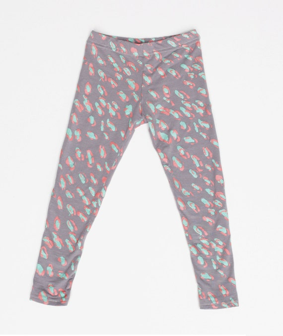 Cheetah Leggings in Mint and Pink on Grey