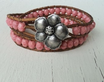 Leather Wrap Bracelet, Pink Coral Double Leather Wrap Bracelet, Pale Pink, Rustic, Boho Bohemian