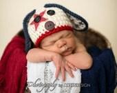 Newborn Photo Prop - Puppy Hat - 4th of July - Patriotic Hat - Baby Puppy -  Newborn Boy - Newborn Girl
