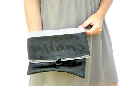 Fold Over Clutch, Black and Gray Purse, Handbag, Cosmetic Bag, Linen and PVC Pouch