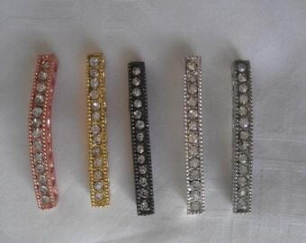 Lot of 5- Sideways CZ Bar Connectors Faith Connector Bracelet DIY Crystal Bead Connector