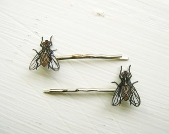 Fly Bobby Pins, Insect, Bug, Entomology, House Fly, Wearable Art