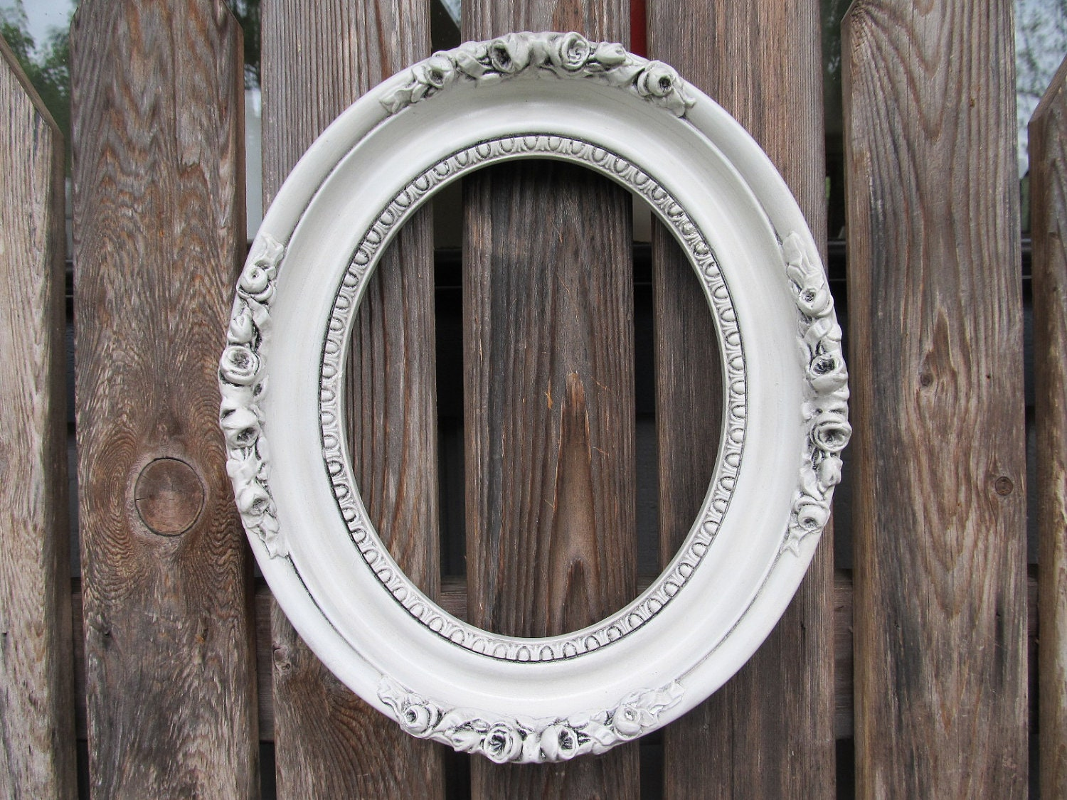 Vintage antiqued white oval ornate frame for How to make vintage frames