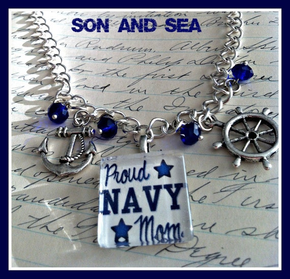 Proud US Navy Mom glass pendant necklace by Son and Sea FREE US shipping