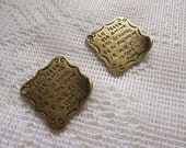 Siuc Supplies -  25 x 25mm Antique Brass Old Love Letter charm (4pcs)