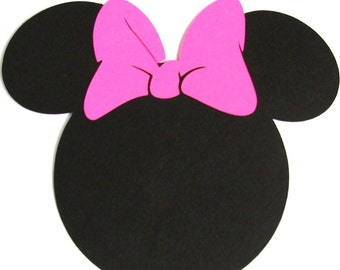 "40 pack -5"" Minnie Mouse ears with a HOT PINK bow- DIY Invitations,banners, favor tags, Thank you cards"