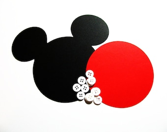 "DIY Kit Mickey head with shorts: 100 pack- 5"" Mickey Mouse Large ear die cuts (BLACK) w/ 50 circles (RED) and 200 buttons"