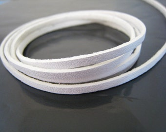 1 Yard of 3mm White Flat Leather Cord
