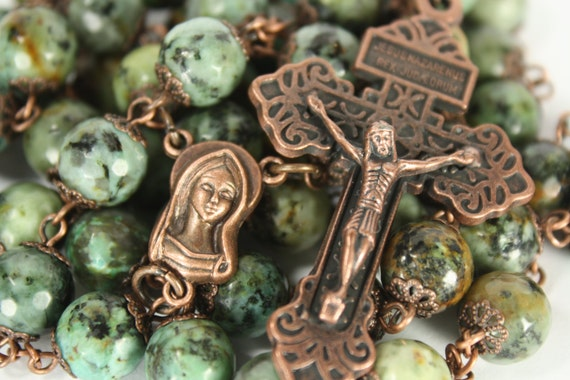 Huge African 10mm Turquoise and Bead Rosary in Copper Handmade in Oklahoma