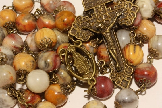 10mm Huge Crazy Lace Agate Bronze Pardon Crucifix Rosary made Oklahoma