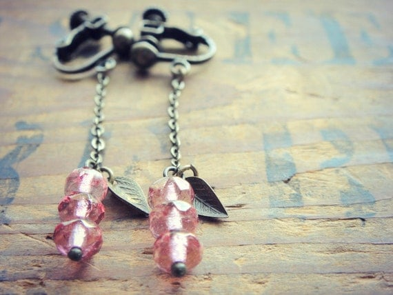 Topaz Pink Luster with Tiny Metal Leaf Clip on, Screw back Clip on, Long Chain Clip Earring