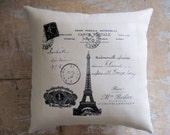 French Pillow, French Country, Eiffel Tower, Paris, Cottage Decor, Home Decor, Decorative Pillow, Housewares