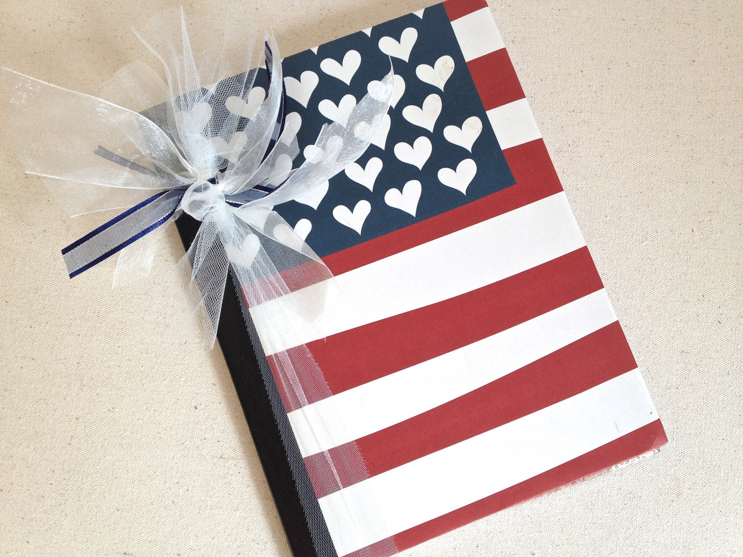 Wedding Gift Notebook American Flag in Red White Blue
