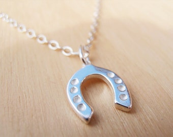 Tiny Silver Horseshoe Necklace - Good Luck Charm - Sterling Silver