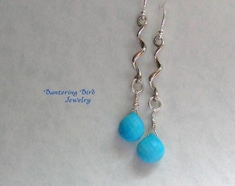 Sky Blue Turquoise Earrings on Long Sterling Silver Spiral, Special Occasion Fine Jewelry