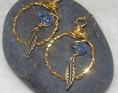 Large Brass Wire HOOP Dangle EARRINGS withLeaves and Blue Swarovski Crystals