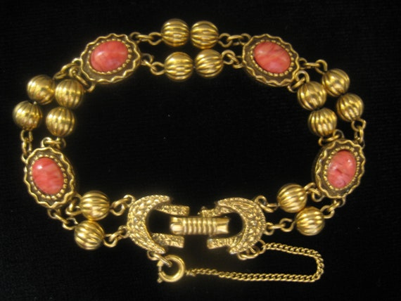 RESERVED  for V. Vintage Antique gold tone Coral Cabochon bracelet with double strand look in Ribbed bead sections