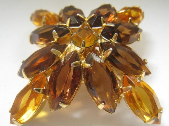 "RESERVED for V.  Vtg Light & Dark Topaz Rhinestone Brooch is 2""H x 2""W with 12 Marquis shaped stones and 1 round"