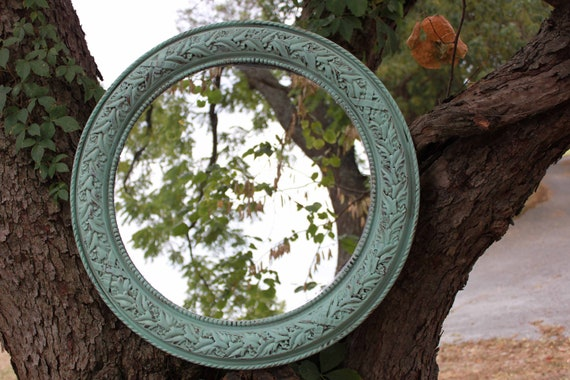 Vintage round Seafoam Green Mirror - Ornate Circle Mirror - Vintage Ornate Mirror - Shabby Chic - Boho