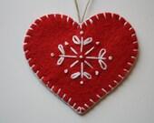 Red Felt Heart Ornament - Petite
