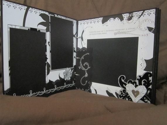 Wedding Album, Scrapbook Album, Premade Album, Black and White Wedding, Chipboard Album by Island Lilly Designs