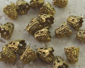 Small 5mm Brass Filigree Caps.  18 pcs.