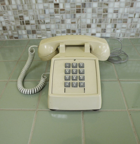 Light Beige Very Clean Push Button Telephone // ITT Phone 80s