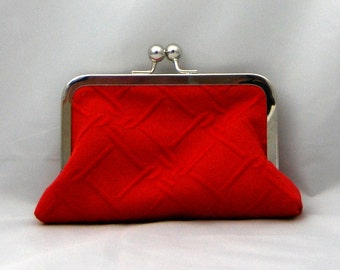 Red cotton matellesse with red/white cotton sateen lining. Luscious Little Libby clutch