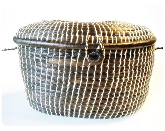 "Sweetgrass Purse  or Sewing Basket with Lid - Long Shoulder Strap - Coiled - 19"" drop Cross Body - Primitive"