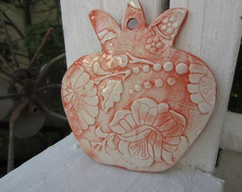 Red and White Pomegranate Ceramic Tile Wall Art Garden Decor