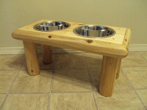 Log Pet / Dog / Cat Bowl Feeder - Large - Elevated Home Cabin Furniture - Cedar