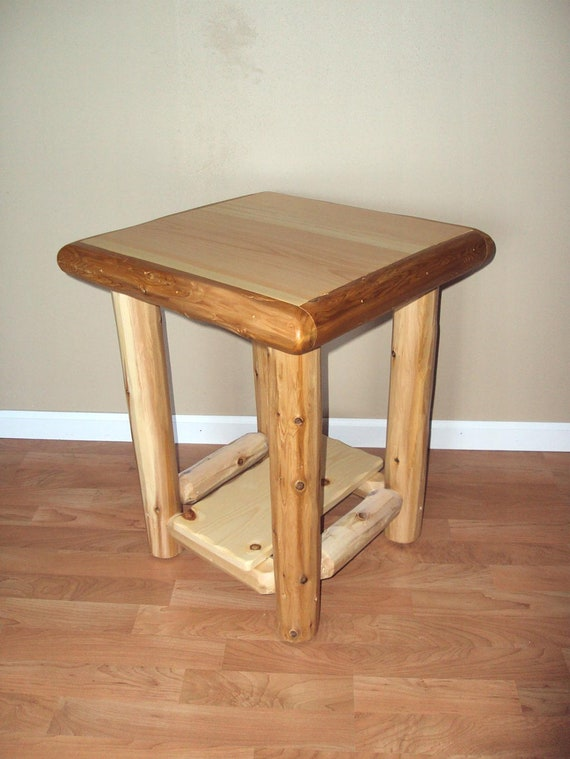 Log Side Table ~ Log end table nightstand w shelf furniture rustic cedar